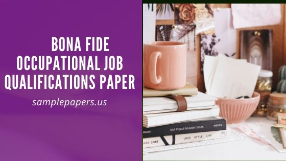 Bona Fide Occupational Job Qualifications Paper